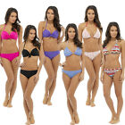Halter Neck Padded Underwired Bikini Top and Bottoms Set Size 10,12,14,16,18