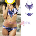 Womens Lady Floral Chiffon Push Up Padded Bikini Swimwear Bathing Suit