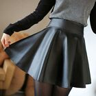 Fashion Black Matte PU Leather Skirts Women High Waist Umbrella Short Skirt - CB