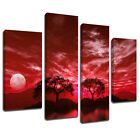 MSC043 Red Mist Lakeside Trees Canvas Wall Art Multi Panel Split Picture Print