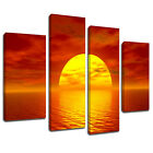 MSC063 Orange Sunset Ocean Canvas Wall Art Multi Panel Split Picture Print