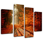 MSC199 Autumn Trees Railway Canvas Wall Art Multi Panel Split Picture Print