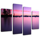 MSC350 Purple Open Lake Canvas Wall Art Multi Panel Split Picture Print