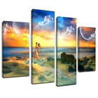 MSC393 Adam Eve Garden of Eden Canvas Wall Art Multi Panel Split Picture Print