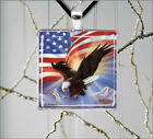 AMERICAN WHITE HEADED EAGLE & FLAG PENDANTS NECKLACE  -f3c4g