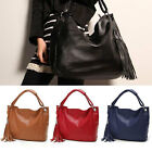 New Womens Large Capacity Leather Hobo Tassel Tote Shoulder Bag 4color