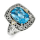 Blue Topaz & Diamond Ring Silver 14K Gold Accent 0.01 Ct Size 6 - 8 Shey Couture