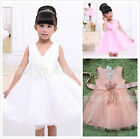 GIRLS TULLE PARTY DRESS DETAIL FLOWER GIRL WEDDING PAGEANT BRIDESMAID BKU