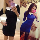 New Women White Peter Pan Collar Long Sleeve Pencil Mini Bodycon Mini Dress S-XL
