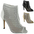 WOMENS LADIES ANKLE PEEPTOE MESH HIGH STILETTO HEEL PARTY SHOES BOOTS HEELS SIZ