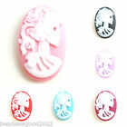 5 Oval SKELETON SKULL LADY LOLITA Cameo Cabochon 18 x 25mm Gothic Emo Decoden