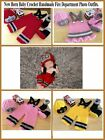 Baby Fire Department  Knit Crochet Handmade Costume Photography Outfits-