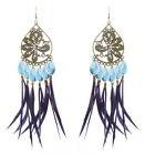 JF207 wholesale lots Feather chandelier earrings bead peacock you pick quantity