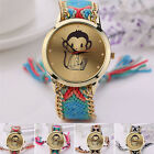 Prevalent Women Lady Knitted Braided Rope Band Monkey Pattern Quartz Wrist Watch