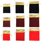 25Pcs Velvet Gold Trim Drawstring Jewelry Gift Bags Pouches Wedding XMAS Home