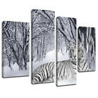 MA047 White Tiger Snow Forest Canvas Art Multi Panel Split Picture Print
