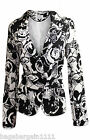 NEW LADIES BLACK WHITE LINEN FLORAL RETRO SMART BLAZER JACKET EVENING OFFICE