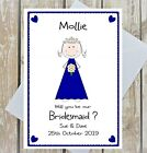 PERSONALISED WILL YOU BE MY BRIDESMAID CARD FLOWER GIRL MAID OF HONOUR NAME CUTE