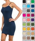 WOMEN CAMI MINI DRESS SEAMLESS BodyCon Tight Long camisole Tank Top ONE SIZE