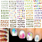 New Colorful Feather Nail Decals Water Transfer Stickers Fashion Shape Hot