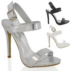WOMENS HIGH HEEL PLATFORMS LADIES STILETTO BUCKLE STRAPPY PARTY SANDAL SHOES 3-8