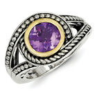 Amethyst Swirl Ring Sterling Silver w/ 14K Gold Accent Size 6 - 8 Shey Couture