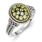 Peridot Cluster Ring .925 Silver w/ 14K Gold Accent Size 6 - 8 Shey Couture