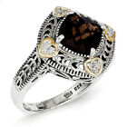 Smokey Quartz & Diamond Ring Silver 14K Accent 0.05 Ct Size 6 - 8 Shey Couture