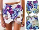 Asymmetrical Womens Career Tiered Culottes Skorts Shorts Floral Mini Skirts - CB