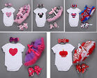4Pcs Baby Kids Girl Headband+Romper+Skirt+Shoes Clothes Bodysuit Set Playsuit