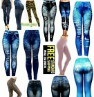 Juniors Womens ONE SIZE fits S-M-L casual Leggings/Jeggings Denim Jeans Print