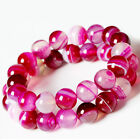Natural Pink Striped Agate Round Gemstone Loose Spacer Charm Beads 4-6-8-10-12MM