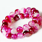 agate pink - Natural Pink Striped Agate Round Gemstone Loose Spacer Charm Beads 4/6/8/10/12MM