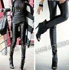 2015 New Women Fashion Black Cotton PU Leather Stitching Nine Leggings HOT! - CB
