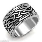 11.6 MM Wide Band Silver Stainless Steel Celtic Tribal Mens Ring