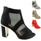 NEW WOMENS LADIES PEEPTOE MESH ANKLE MID BLOCK HEEL FAUX SUEDE SHOES BOOTS SIZE