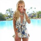 2015 New Women Print Floral Sexy Deep V-neck Summer Beach Jumpsuit  Rompers - CB