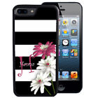 PERSONALIZED RUBBER CASE FOR iPHONE 5 5C 6 6S 7 PLUS  BLACK WHITE STRIPE FLOWER