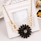 Women Fashion pearl crystal temperament sunflower flower necklace 5 colour