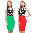 Sexy Womens Summer Polka Pencil Mini Dresses Casual Work Cocktail Prom Size S-XL