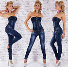 Women's Stretch Denim Jeans Strapless Jumpsuit Overall - XS / S / M / L / XL