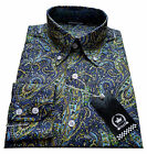 Relco Mens PAISLEY Print Cotton Shirt NEW Long Sleeve Vintage Mod Retro Skin 60s