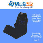 Boys Plus Generous Fit Fashion Jeans Half Elastic 24-40in Waist  (ZJI)