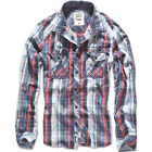 BRANDIT CENTRAL CITY CHECK SHIRT VINTAGE MENS LONG SLEEVE FLANNEL TOP NAVY WHITE