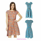 NEW WOMENS PAISLEY PRINT BELTED LADIES FLARE SKATER DRESS TOP SIZES 8-16