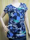 212 COLLECTION Mesh Shirred V-neck Blouse Short Sleeve Top Navy Floral Size XS S