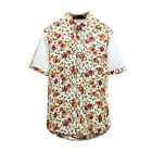 Men Point Collar Short Sleeves Floral Prints Round Hem Casual Shirts