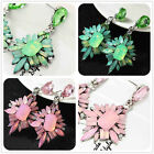 New Fashion Woman's Pink/Green Jelly Crystal Rainbow Stud Drop/Dangle Earrings