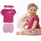 Purple Children Baby Infant Girl Kids Bow Top Pant Headband 3Pcs Outfit Set 0-3Y