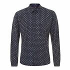 MENS MERC LONDON PAISLEY LONG SLEEVE SHIRT STYLE RIVIERA - NAVY BLUE